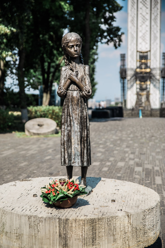 Statue of a girl suffering from famine at the Holodomor Memorial in Kiev.