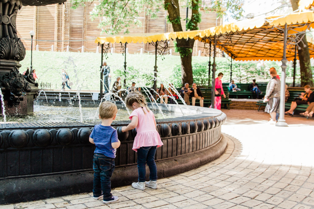 Playing in the fountain at the Golden Gate in Kiev.