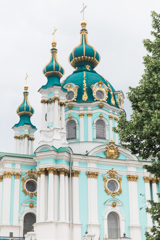 Teal and white St. Andrew's Church in Kiev, Ukraine