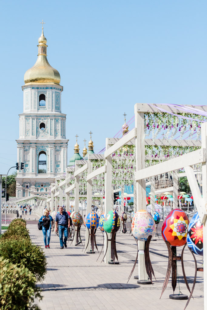 St. Sophia's bell tower and Easter decorations lining the street in Kiev, Ukraine.