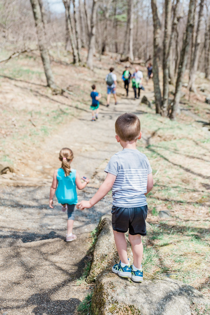 Little boy and sister starting to hike downhill on a trail in Shenandoah National Park.