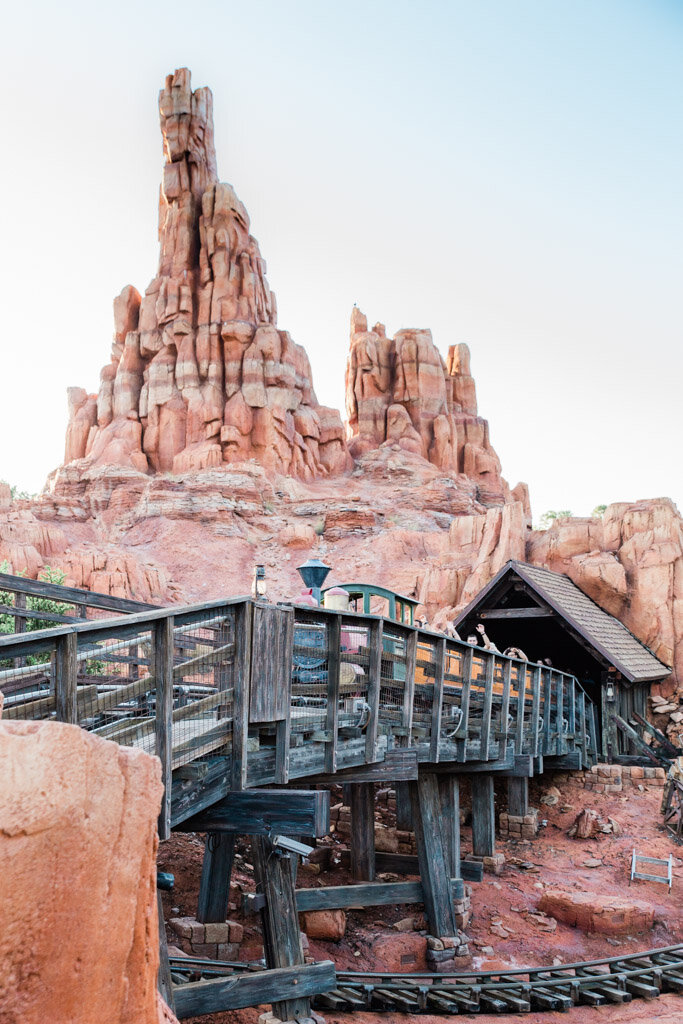 Picture of the rock formations and train from Big Thunder Mountain Railroad ride at Magic Kingdom in Disney World.