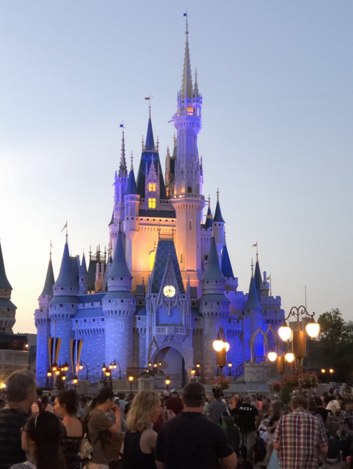 Cinderella's castle at lit up at night at the Magic Kingdom in Disney World.