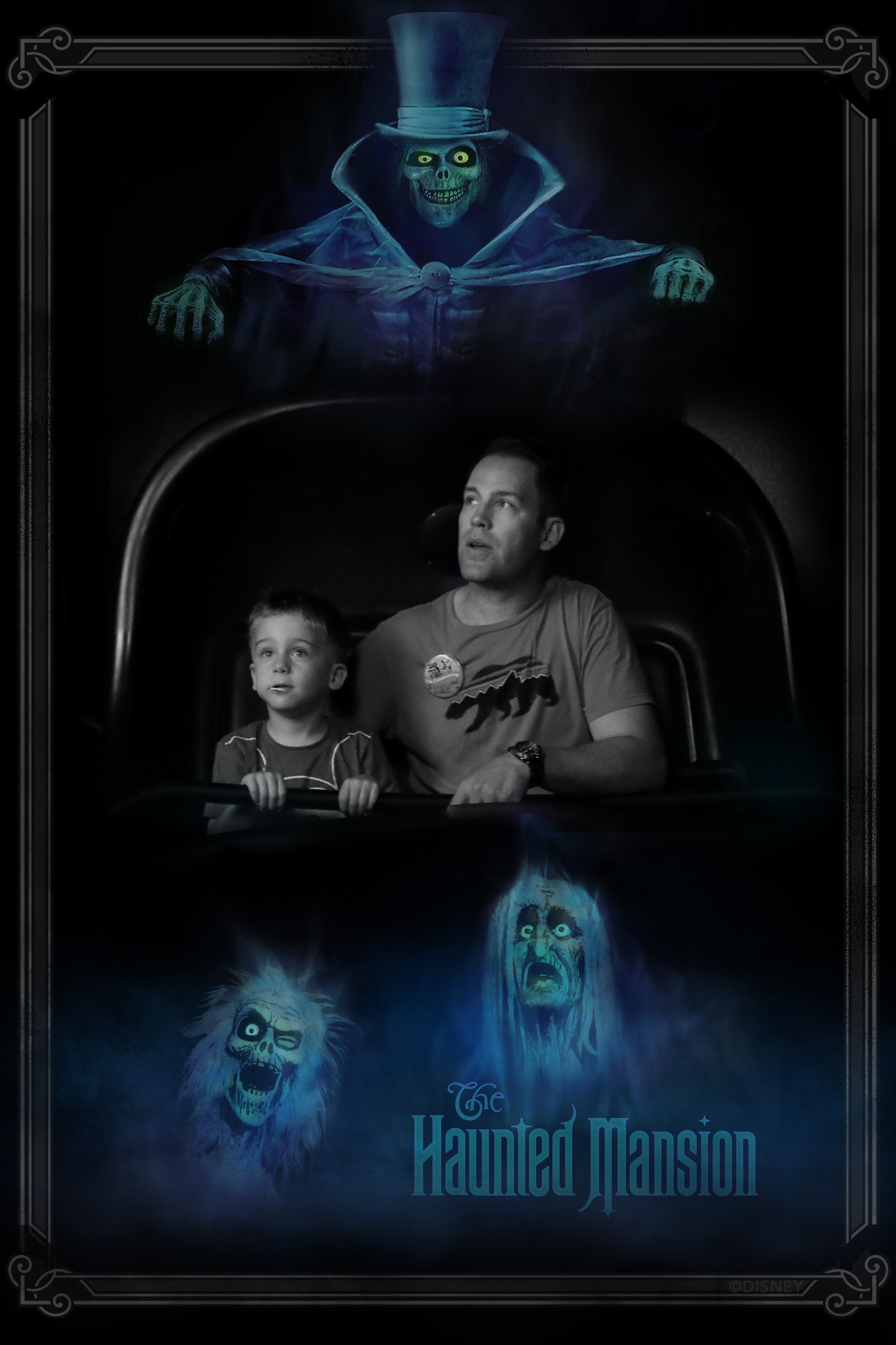 Father and Son on the Haunted Mansion ride in Magic Kingdom Disney World.