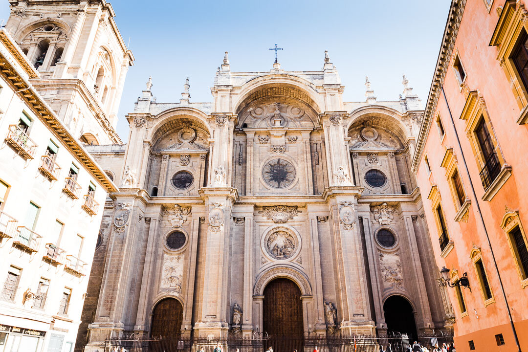 Front of the Cathedral of Granada in Granada, Spain.