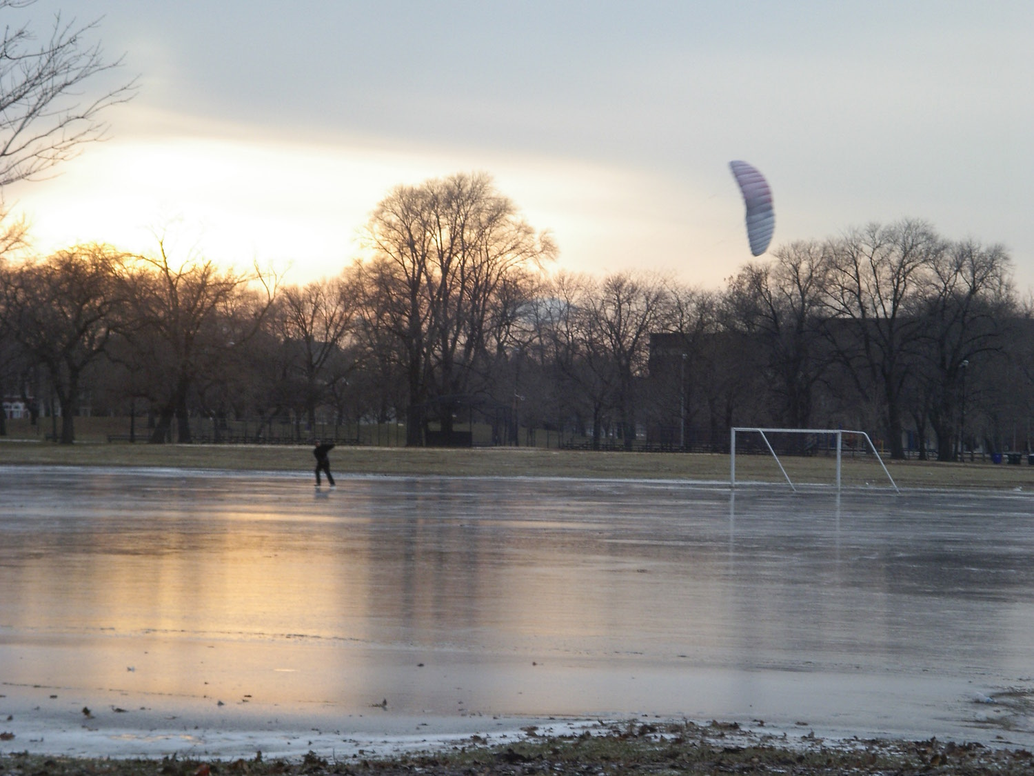 I found ice in Douglas Park on Chicago's west side! The wind was right, all I needed was my ice and skates. Always be ready to seize the wind!
