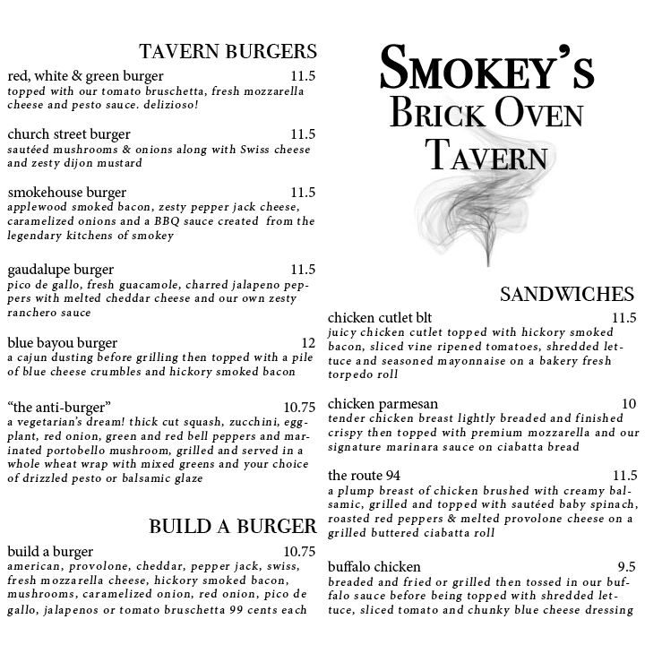 Smokey's Tav Menu Design, 2017