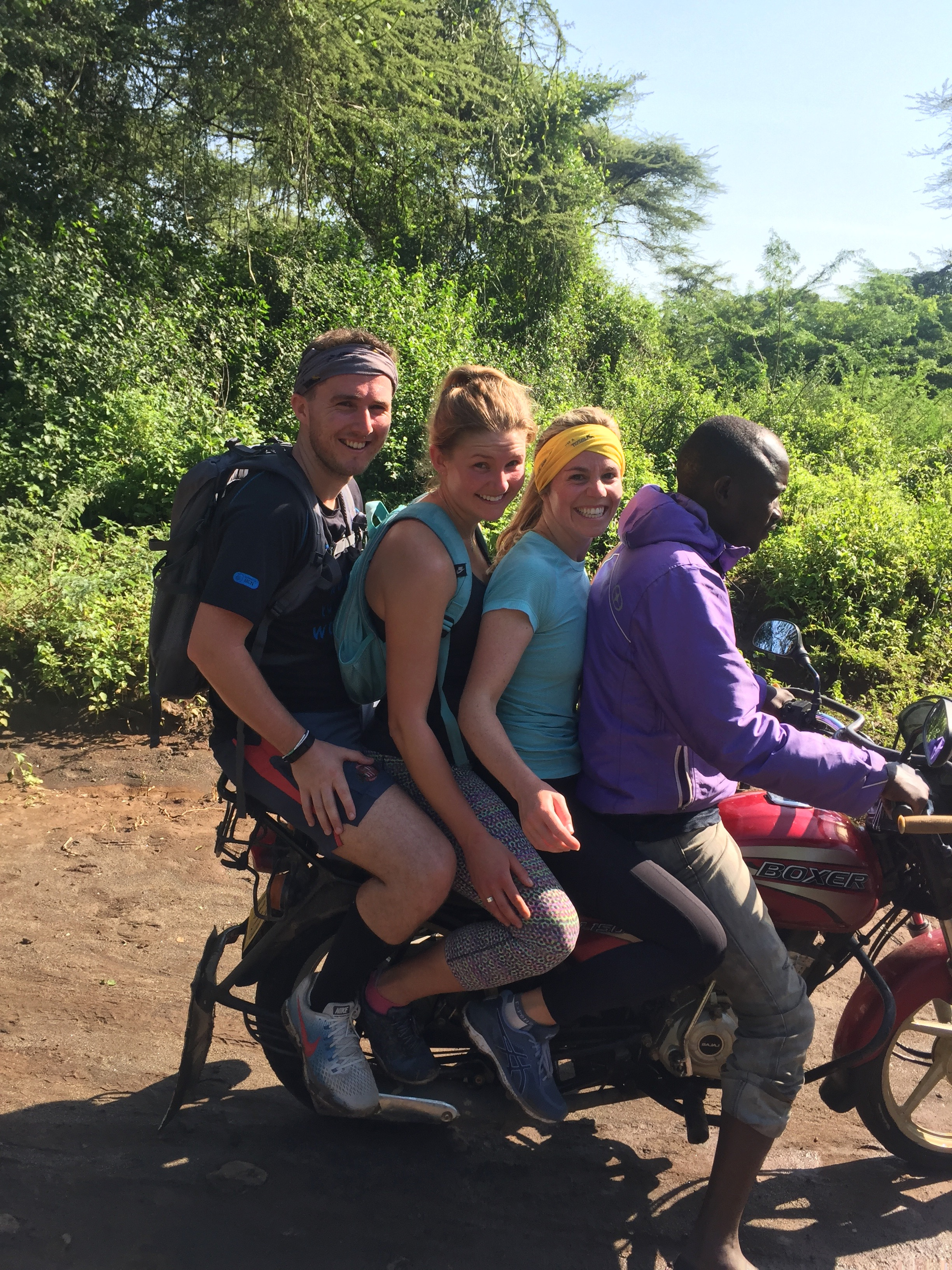"3 words that describe your experience volunteering with IMS: ""Adventurous, exciting and memorable!"" - Jamie Svensen, Kenya Muskathlon, 2018. Photo taken during a route recce, with Mark Maughan, Abi Jones and a bemused villager showing the way."