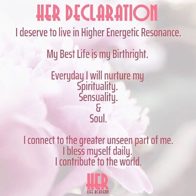 Use the HER Life Declaration as a personal daily reminder to yourself . Your best life is your birthright!  Every month as part of your HER Life Academy membership you will receive: 💗A meditation MP3. 💗4 weekly journals on our focus subject which will be either working on:  Higher Energetic Resonance. Deepening your Spirituality.  Honouring your Sensuality. Expanding your Soul. 💗Supportive weekly emails with extra content. 💗 A monthly group webinar. 🌟Sign up via the profile link!