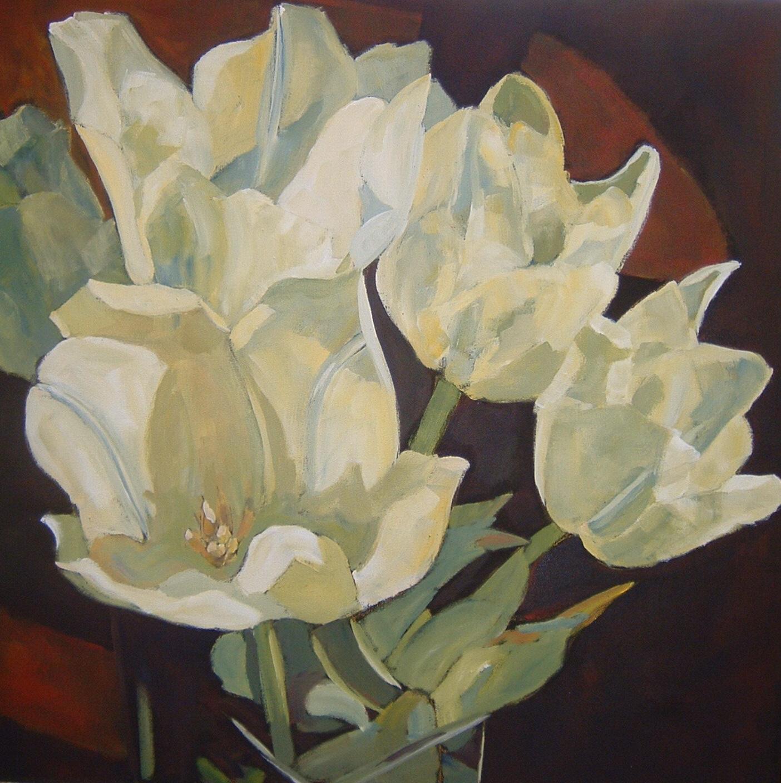 Golden White Tulips 30x30 in.