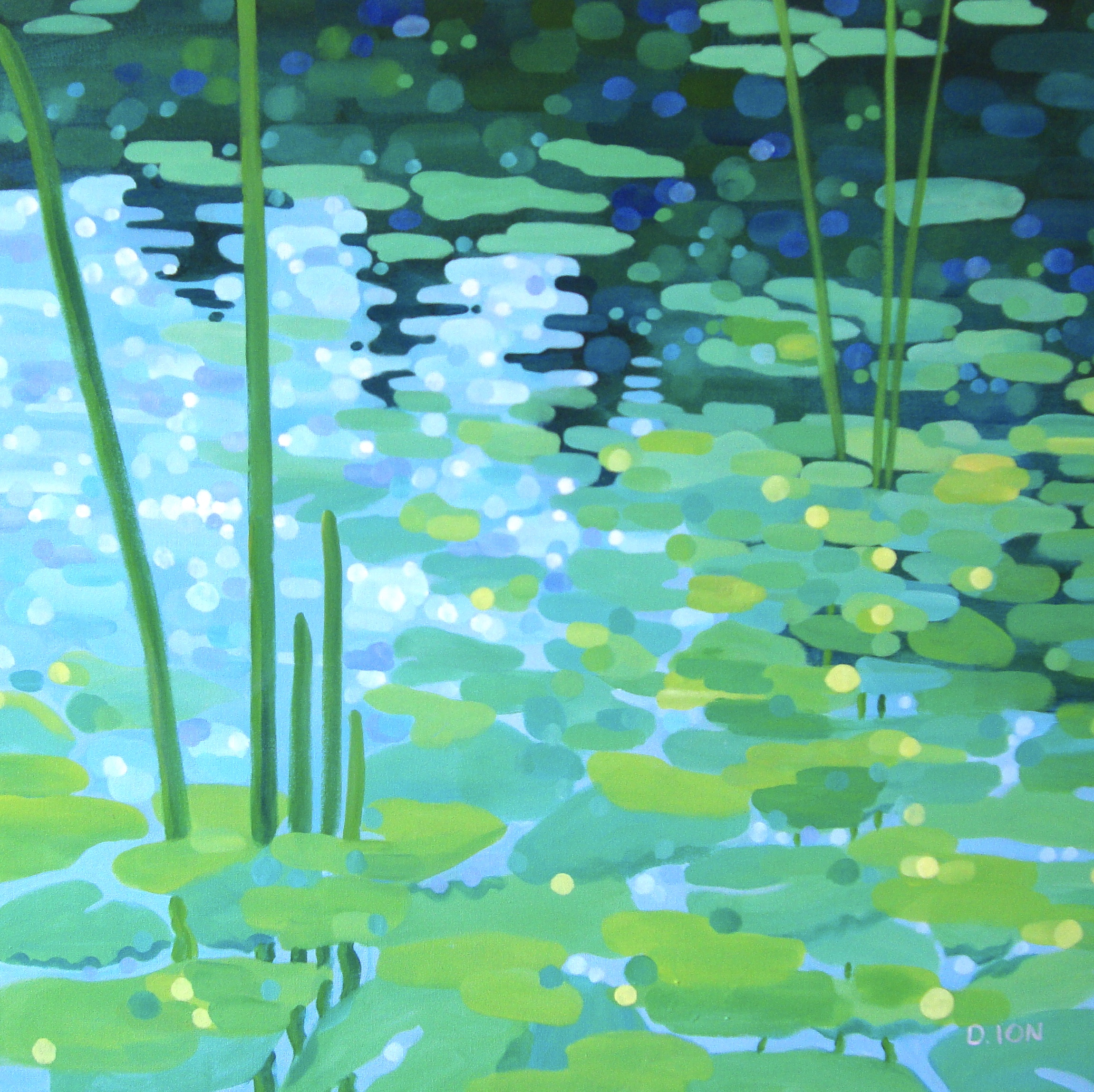 Lilies by the Shore 30x30 in.