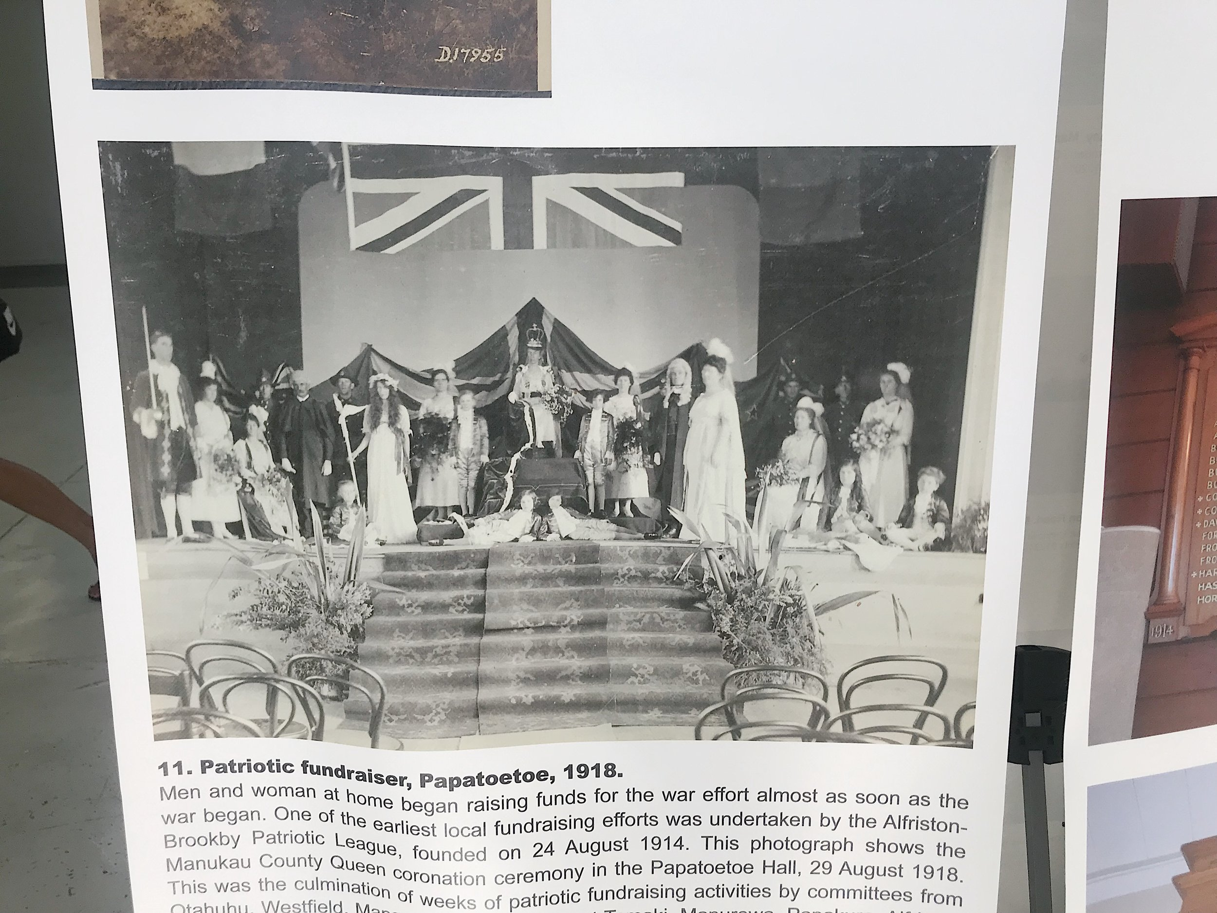 This was one of my favourites: a 'patriotic fundraiser' from the First World War in Papatoetoe, fit with the Union Jack, a pretend Queen of England, and all her royal subjects. I'm sure this one really inspired the mana whenua to support the war effort…
