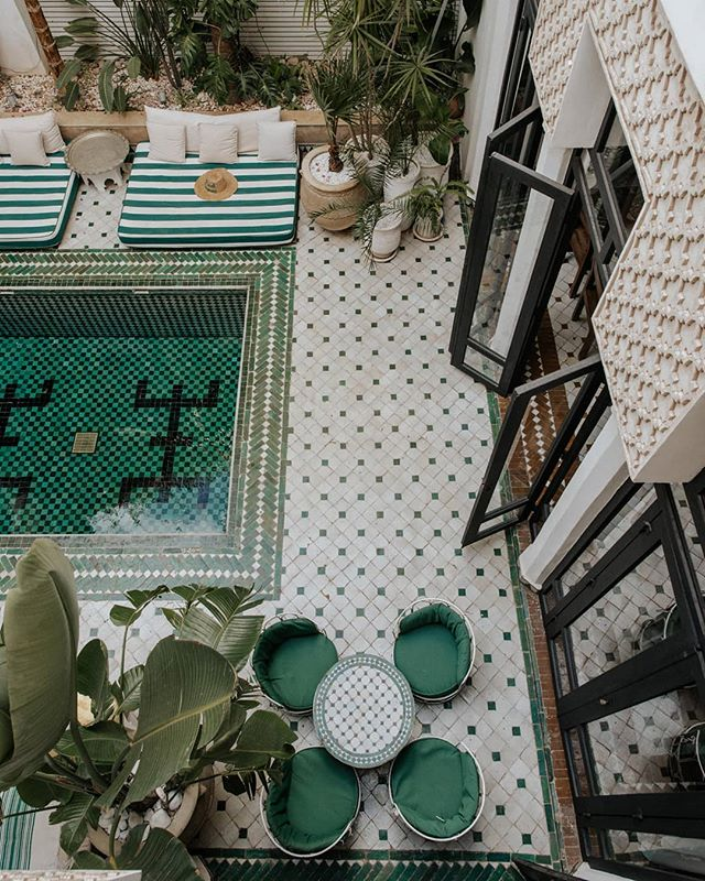 Incredible tile work in this plant filled courtyard. Shot for @leriadyasmine