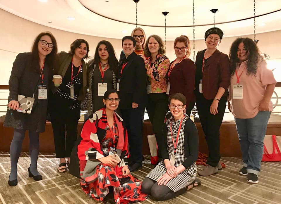 Past and present grant winners got together to take a group photo at the 2019 OPERA America conference. From left to right: Mandy Fang, Kamala Sankaram, Donia Jarrar, Niloufar Nourbakhsh, Jennifer Higdon, Celka Ojakangas (me), Kristin Nordeval, Sarah Taylor Ellis, Lisa DeSpain, Gina Leishman, and Carla Lucero.