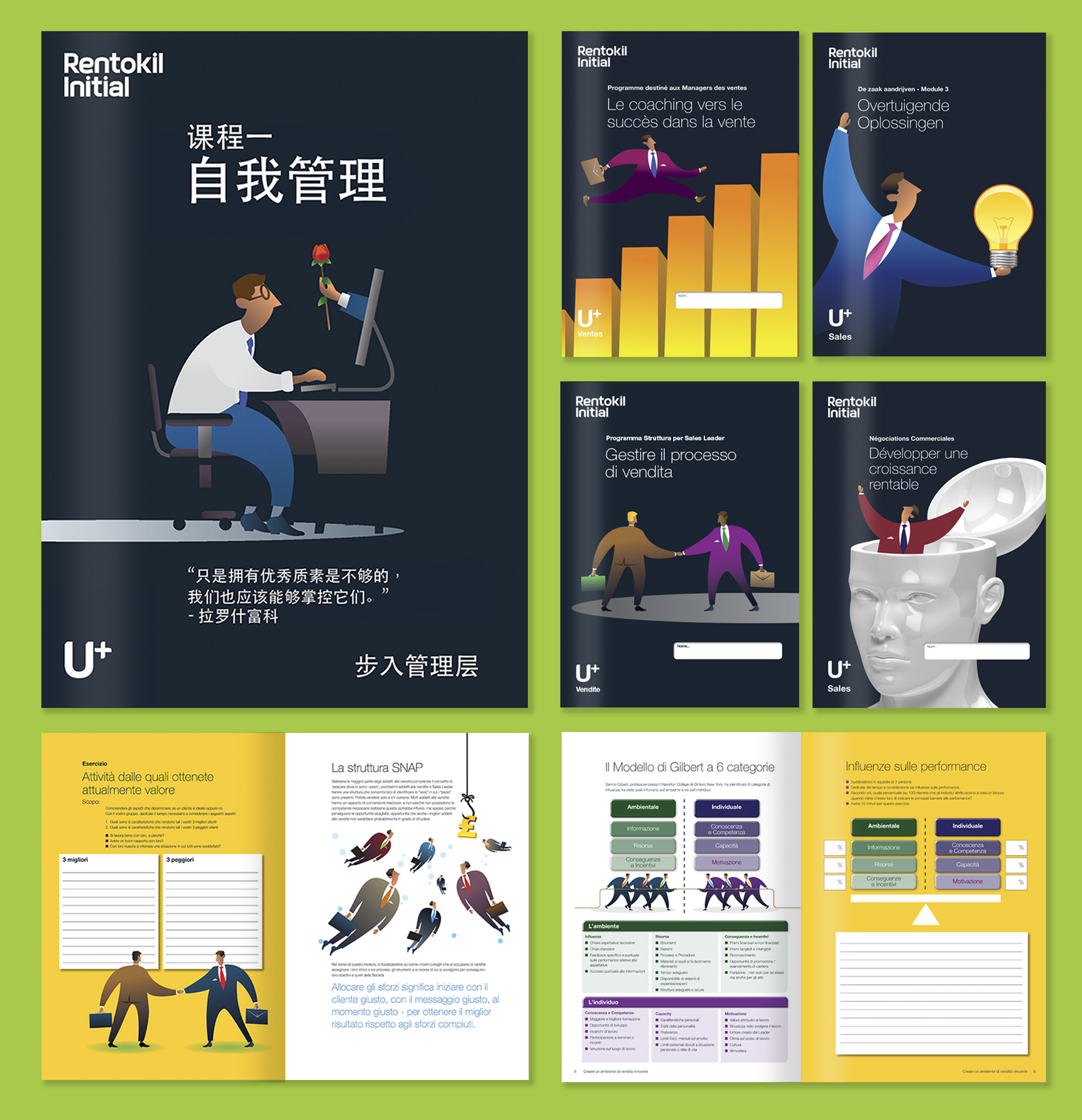 Some of the workbooks we produced for Rentokil Initial's Sales Leadership Programme in a variety of languages.