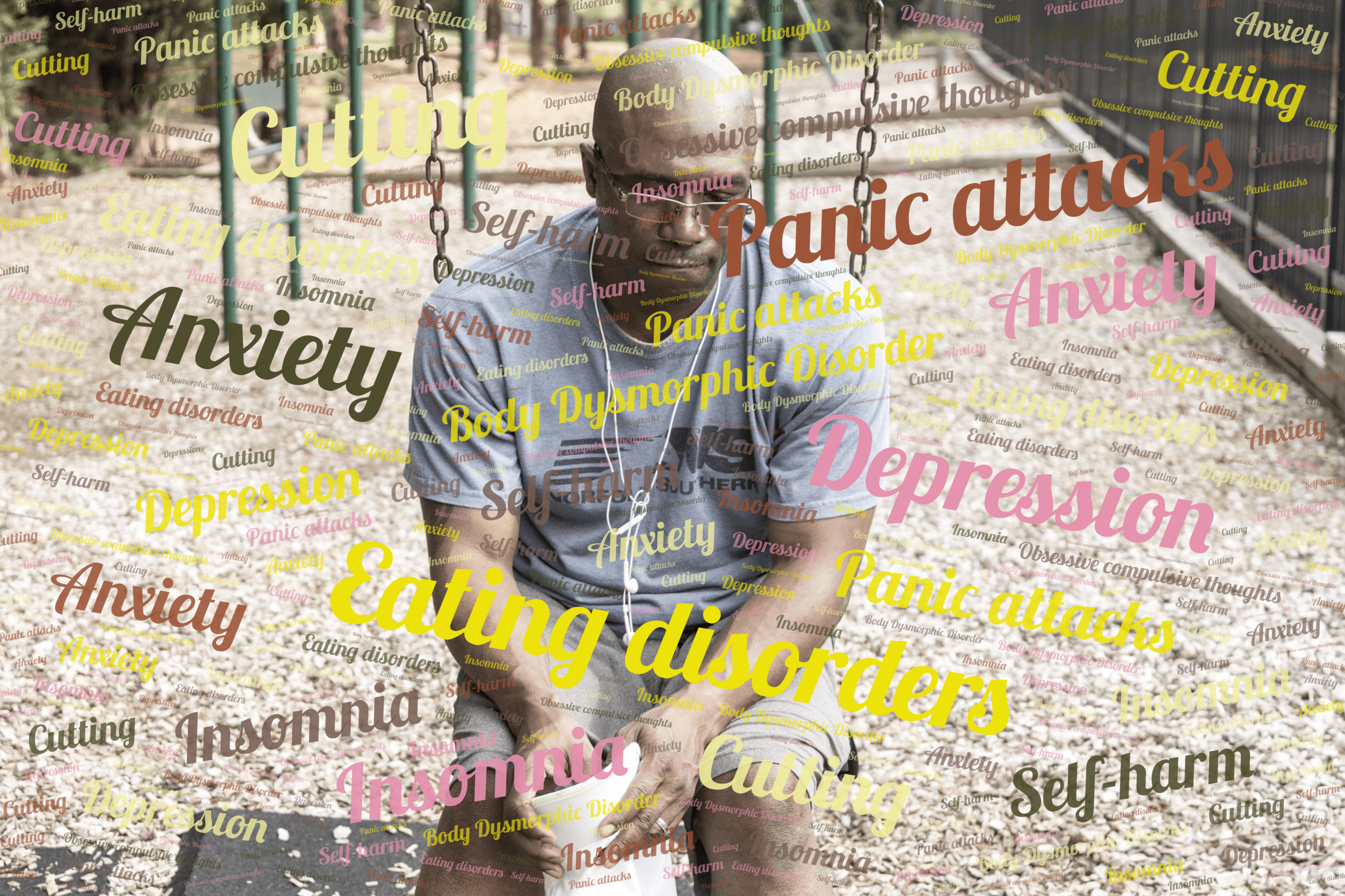 Word Art: emotional symptoms of stress over a photo of an Afro-Caribbean man who appears low in mood.
