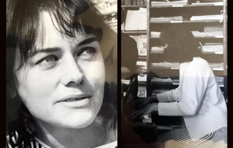 Left: My mother Gabriela Weiss portrait, c. 1963, c-print; Right:My mother Gabriela Weiss rehearsing before the recital, c. 1961, unknown photographer