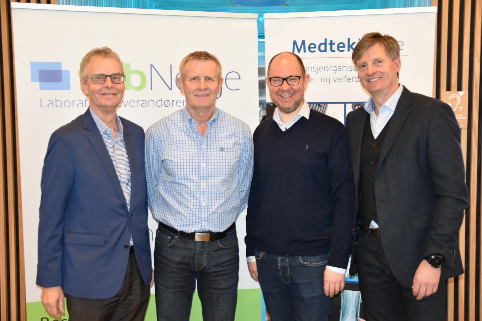 f.v.: Tore Flaatrud, Lab Norge, Bjørn Kristian Berge og Petter Strømme, Legemiddelverket og Atle Hunstad, Medtek Norge
