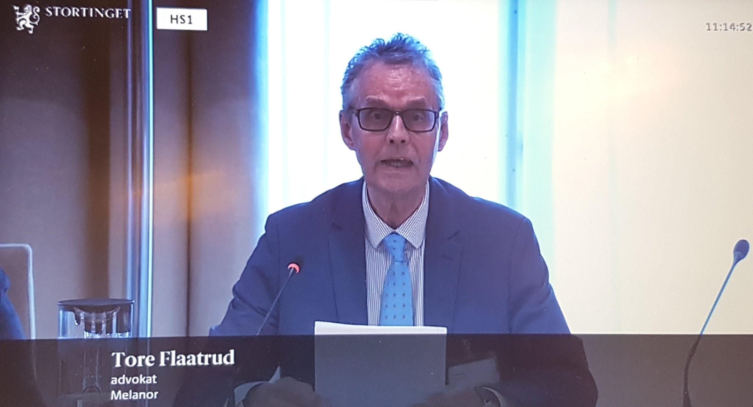 Advokat Tore Flaatrud og seniorrådgiver Henriette Jovik deltok i høring på Stortinget.