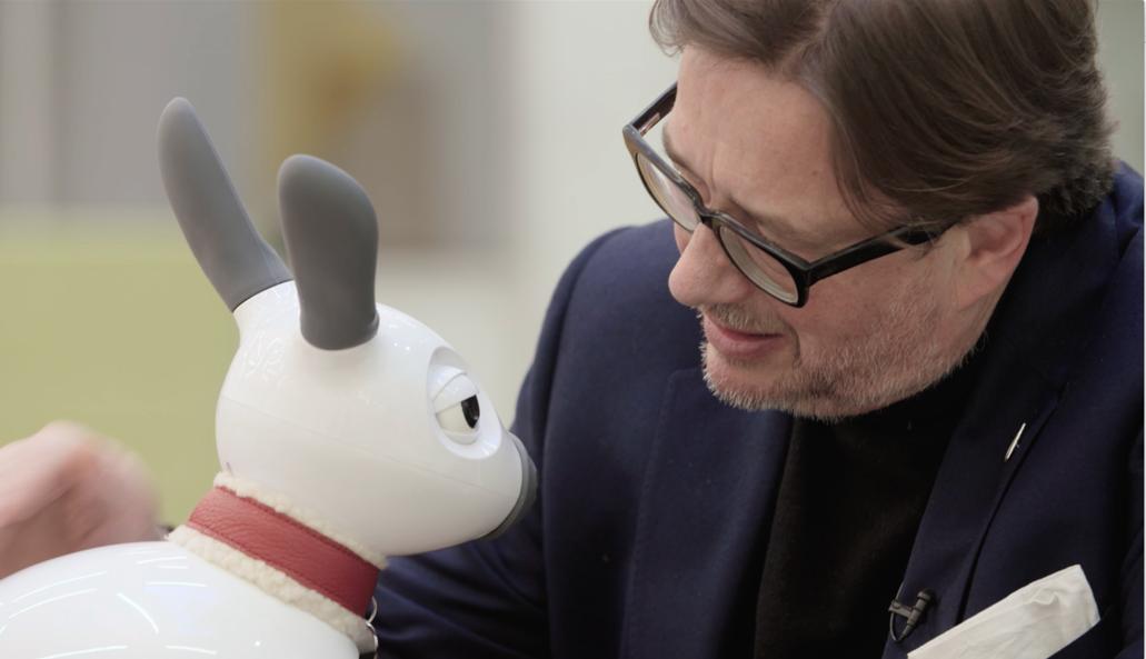 MiRo with Sebastian Conran, the founder of Sebastian Conran Associates & co founder of Consequential robotics.