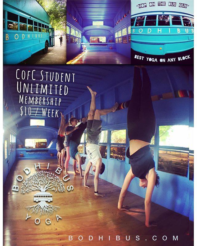 CofC / Student Unlimited Membership $10/week #CofC #charlestonyoga