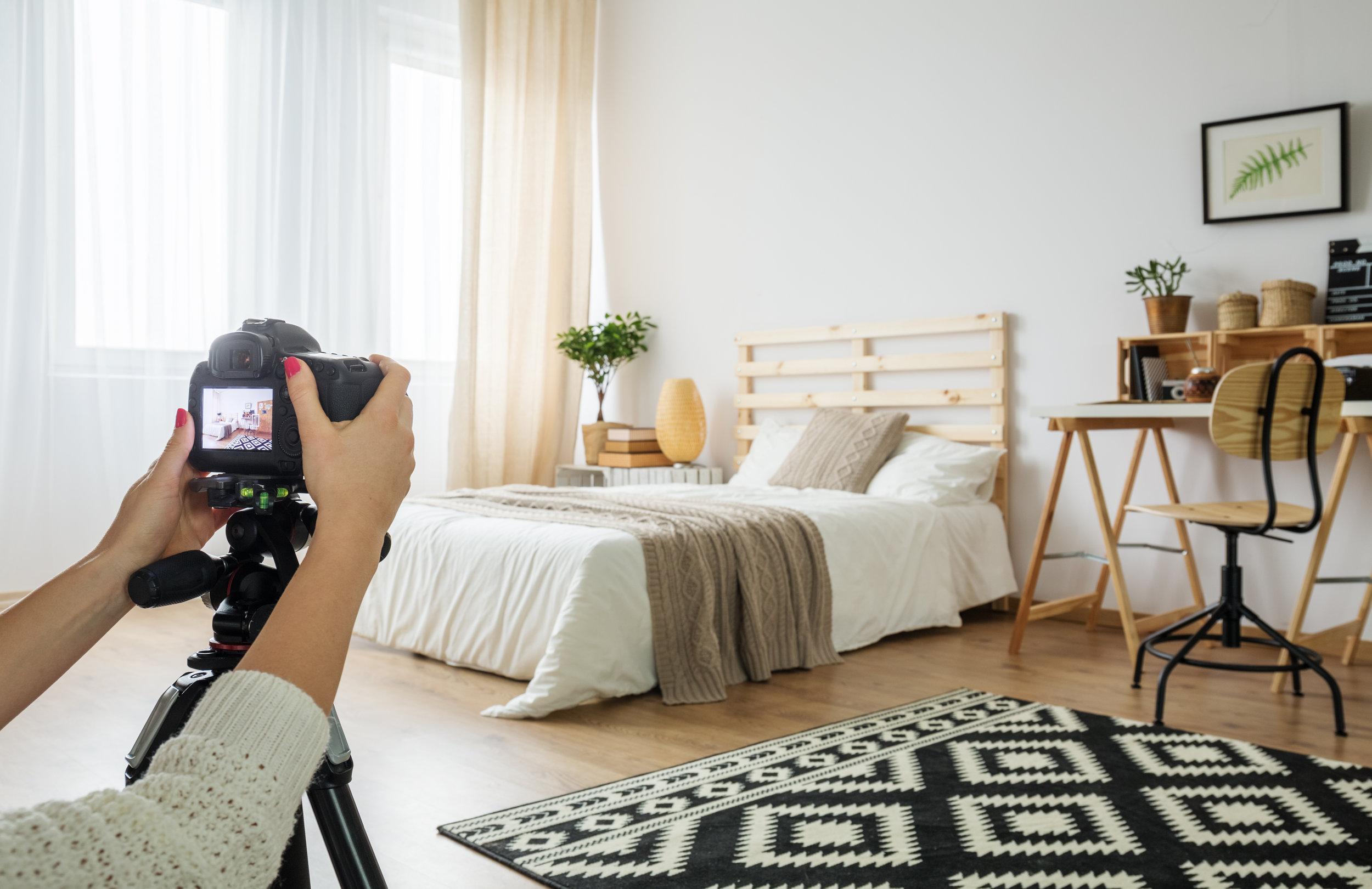 Taking photo of bedroom