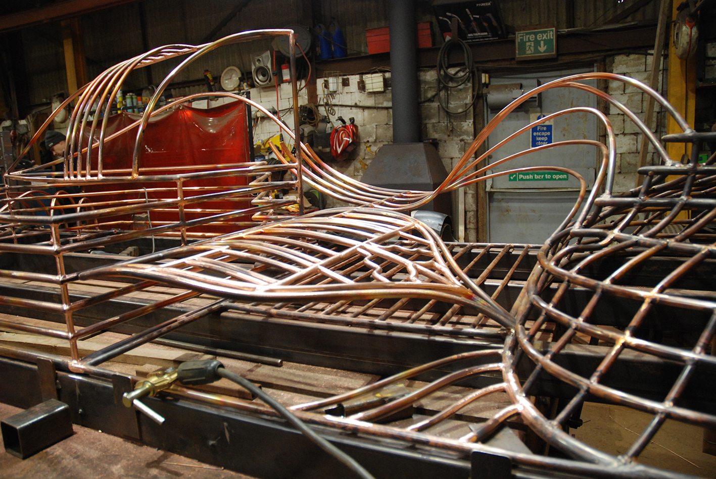 Copper Sculpture by Rebecca Gouldson under fabrication by Art Fabrications www.rebeccagouldson.co.uk