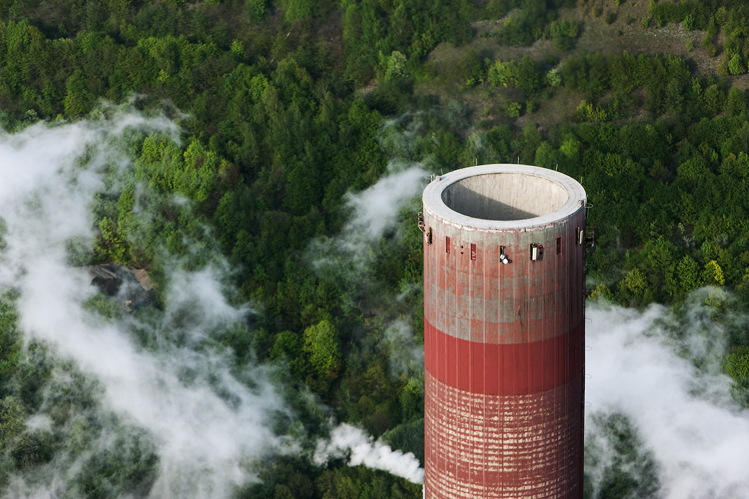 Over The Clouds- Smokestack On Coal-Fired Power Plant