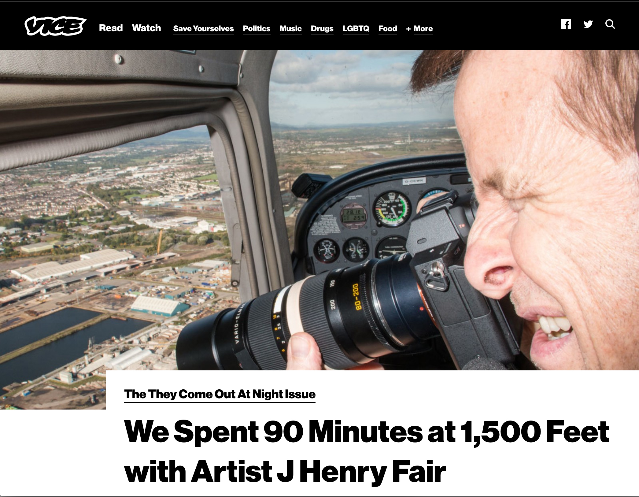 Vice Magazine - We Spent 90 Minutes at 1,500 Feet with Artist J Henry Fair