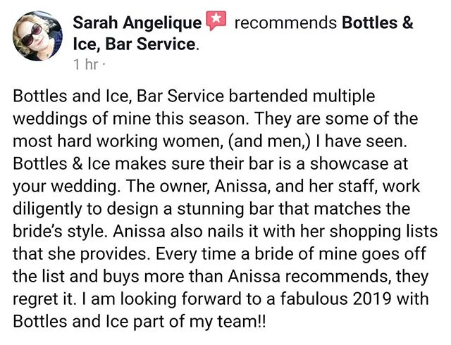 What a sweet review from @inkedplanner over on Facebook! Thank you, Sarah! We're looking forward to working with you more this up coming season as well! #teambottlesandice
