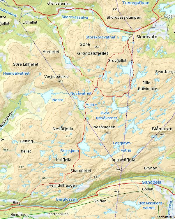 Kart over turistforeningsstiene. Kilde: www.ut.no