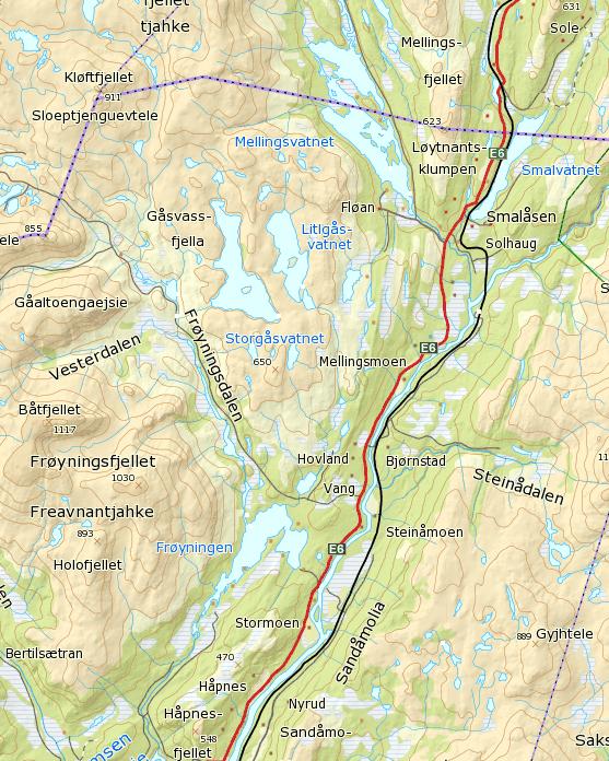 Kart over Gåsvassfjella. Kilde: www.ut.no