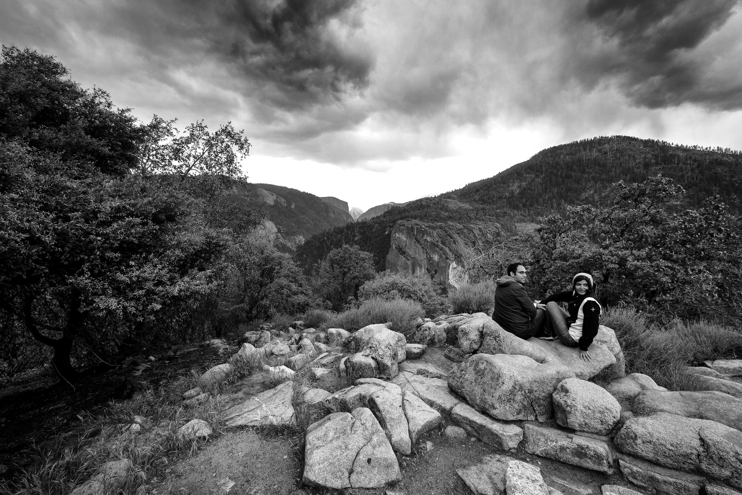 Strangers in Yosemite National Park overlooking El Cap and Half Dome