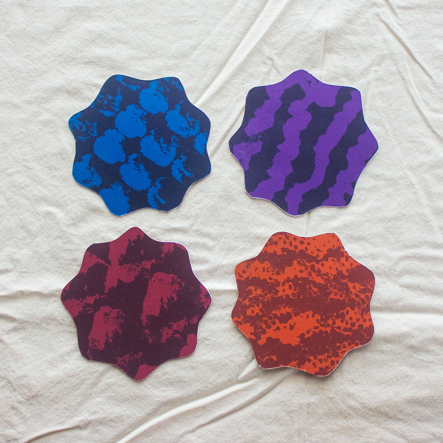 cup coasters - available in four patterns (made with real fruit!)