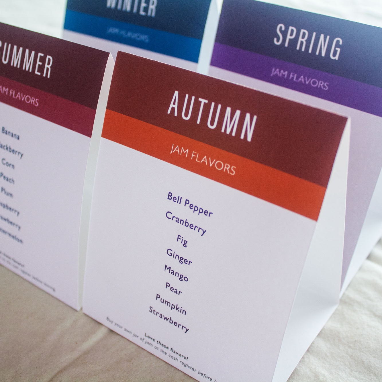 table tents - for every season of the year.