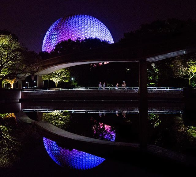 Beautiful night at Epcot last night. One of my favorites, Spaceship Earth over the monorail line. #happilyeveradventuring #disney #epcot #monorail #spaceshipearth #waltdisneyworld