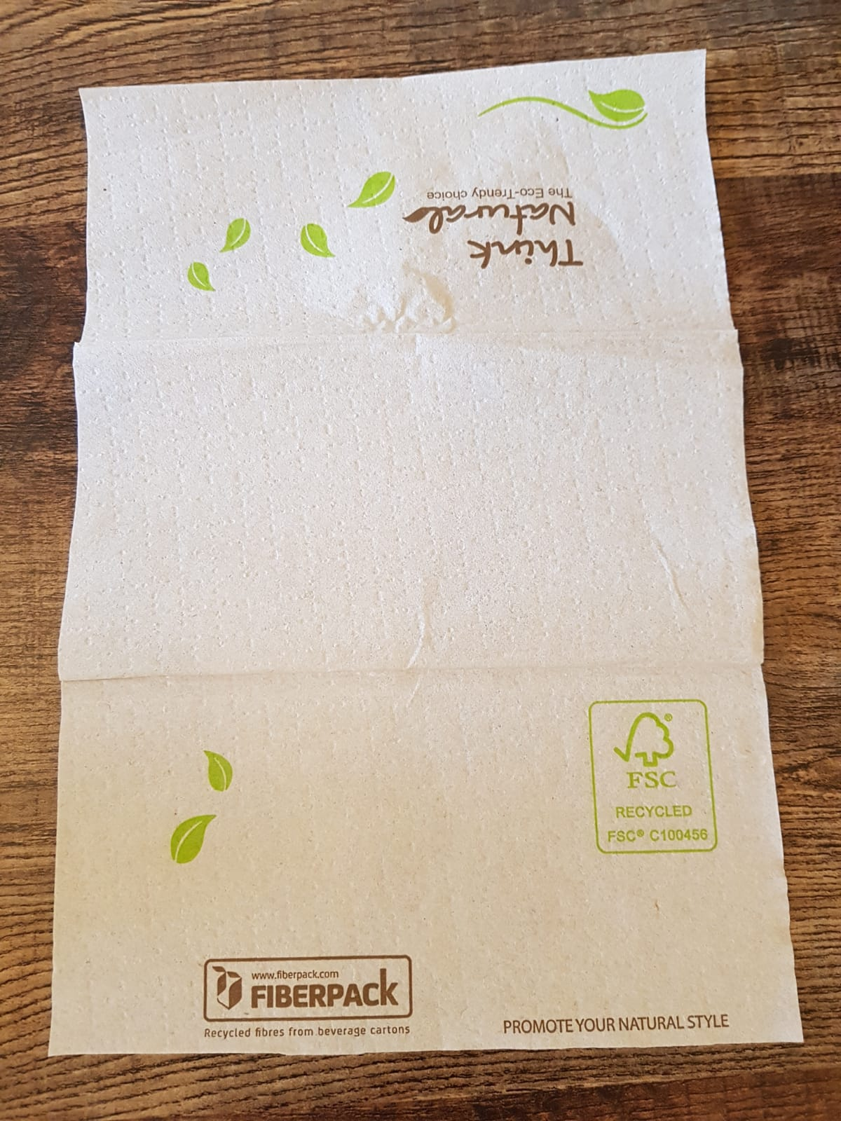 Recycled, compostable napkins.