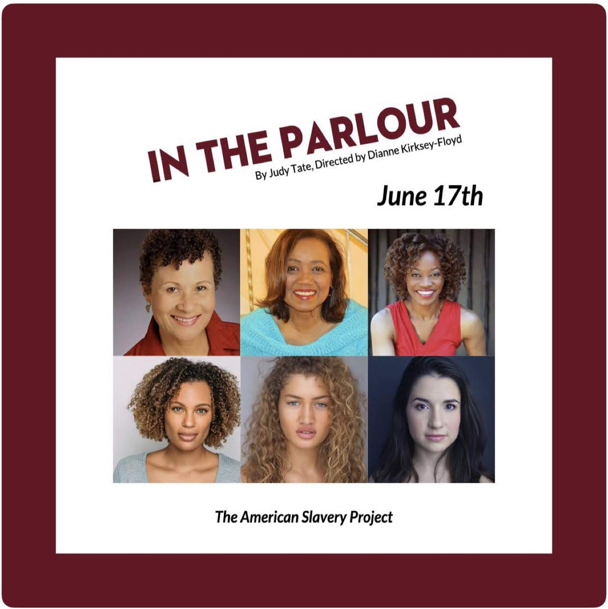 """See Messeret in The American Slavery Project's evening of """"Freedom to Enfranchisement"""" in  """"In The Parlour  Monday , June 17th"""