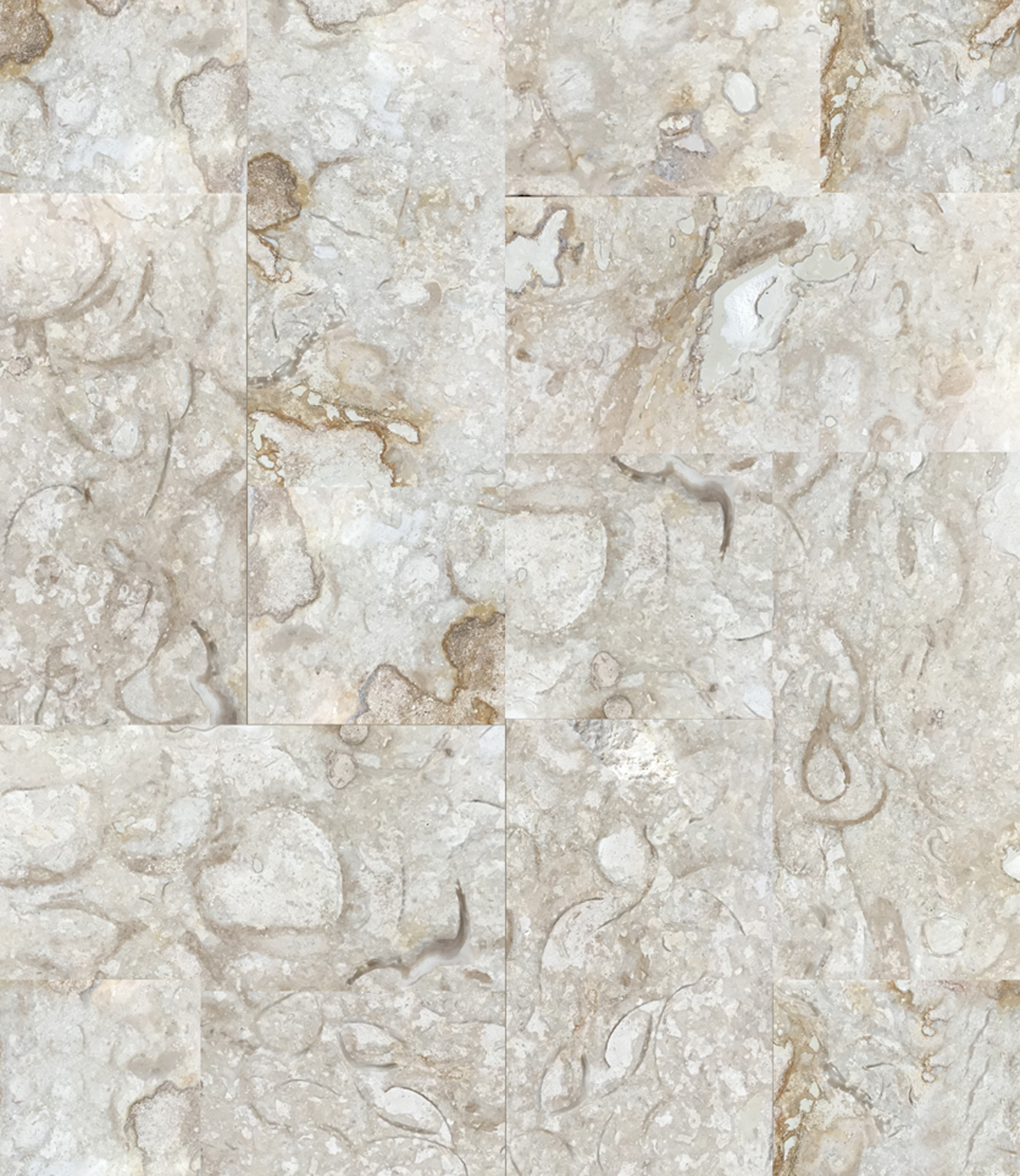 Calico Limestone - This stone is unique to Bella Dura.Calico Limestone has a light beige background with splotchy random shapes, much like water spills, ranging in color from light brown, to gold, to creamy which is lighter than the background. The colors will work anywhere a light travertine would be used.Calico is a very hard stone comparable to most marbles (between 6 and 7 on ths Mohs scale. It is very dense with a low absorption and is frost resistant. It is suitable for almost all uses from paving for heavy traffic areas and high relief carving.The finishes available are honed, polished, bush hammered, and sand blasted.