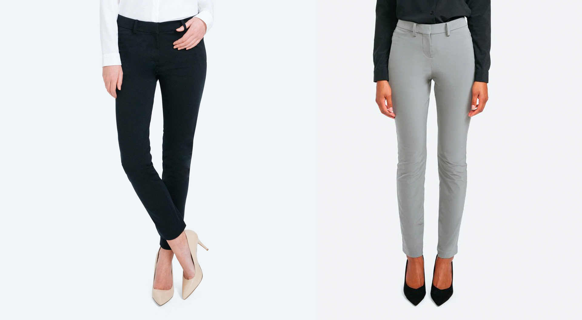 The new Women's Kinetic Pant (Left) and previous generation Structure Your Day Pant (Right).