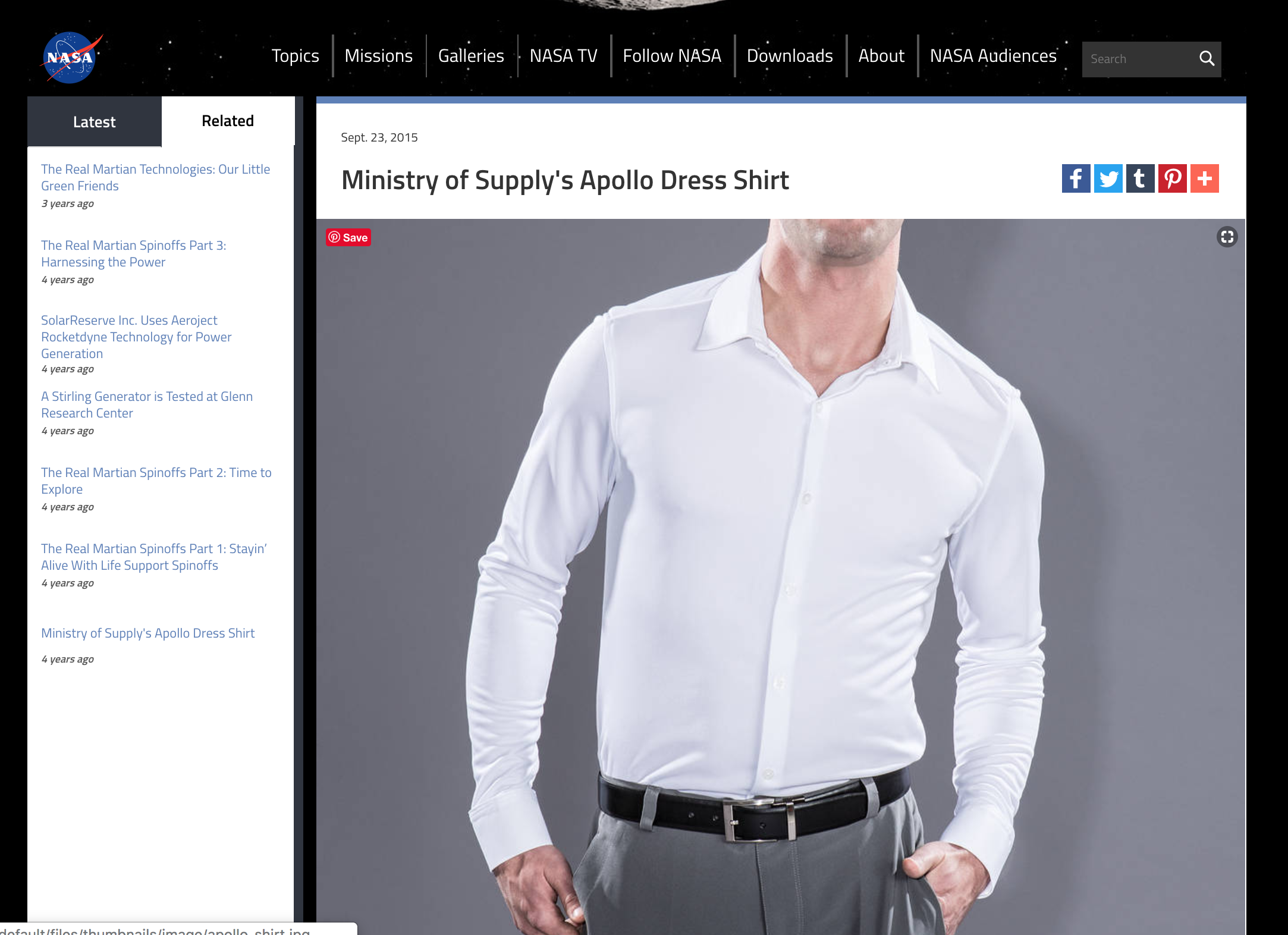 NASA's Spinoff Website discusses the use of space suit technologies, and features the Ministry of Supply Apollo Shirt. Courtesy NASA.GOV
