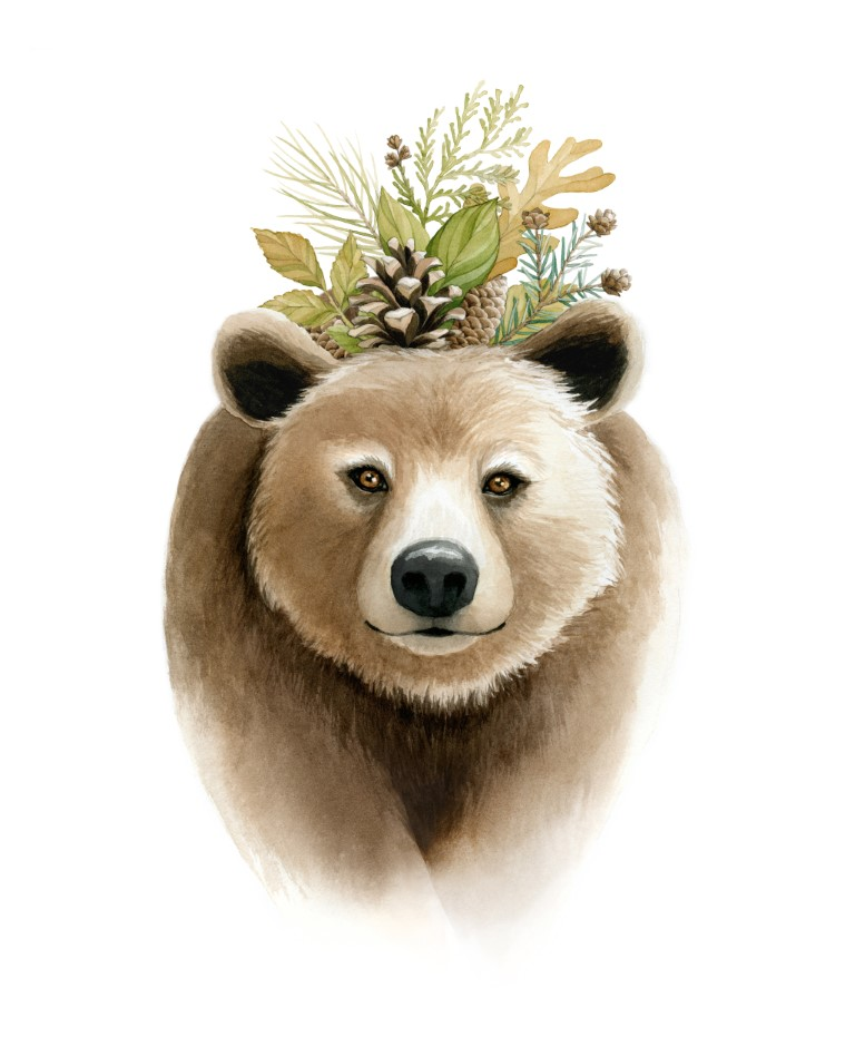 Bear with Pinecone and leaf crown  Watercolour Illustration by Alicia's Infinity - www.aliciasinfinity.com