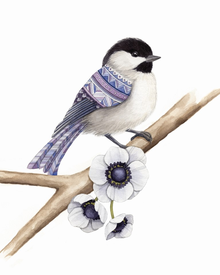 Chickadee with Poppies Watercolour Illustration by Alicia's Infinity - www.aliciasinfinity.com