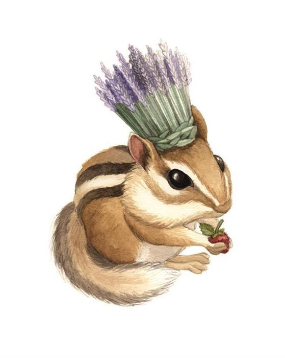 Chipmunk with Lavender Crown Watercolour Illustration by Alicia's Infinity - www.aliciasinfinity.com