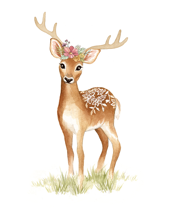 Deer with Flower Crown Watercolour Illustration by Alicia's Infinity - www.aliciasinfinity.com