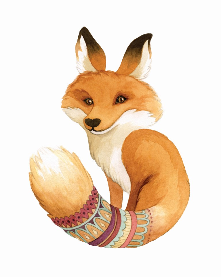 Fancy Fox with Patterned Tail Watercolour Illustration by Alicia's Infinity - www.aliciasinfinity.com