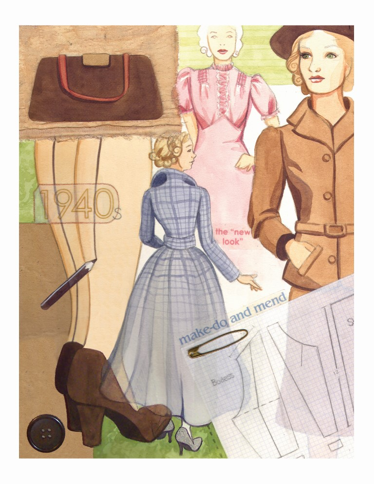 1940s Fashion Collage Watercolour Illustration by Alicia's Infinity - www.aliciasinfinity.com