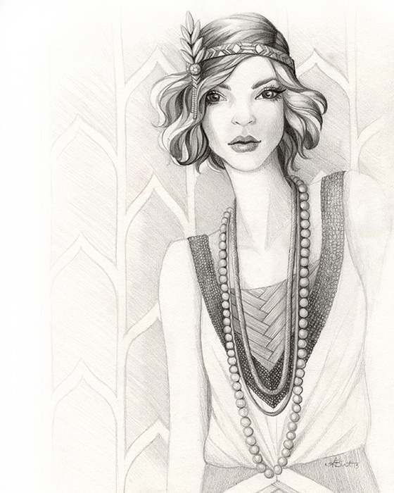 Gatsby Gal - 1920s Flapper Fashion Illustration by Alicia's Infinity - www.aliciasinfinity.com
