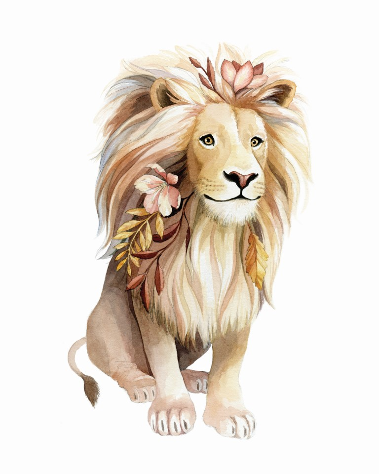 Lion with Flowers in it's mane Watercolour Illustration by Alicia's Infinity - www.aliciasinfinity.com