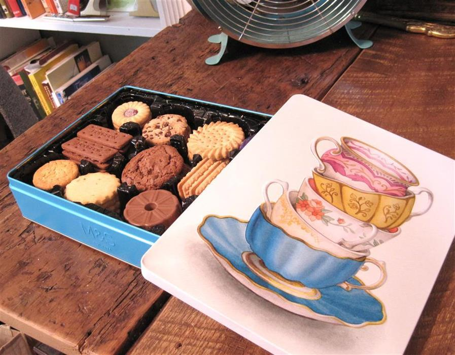 Marks & Spencer Biscuit Tin Illustration - Vintage Teacups Stack Watercolour Illustration by Alicia's Infinity - www.aliciasinfinity.com